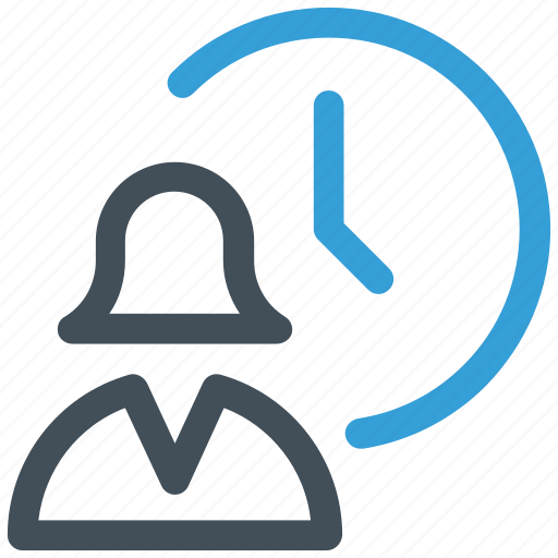 clock, time, user, woman icon icon