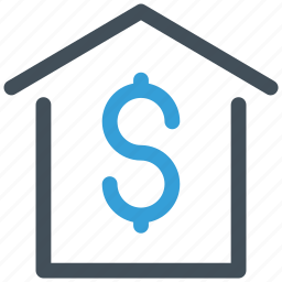 dollar, home, house, money icon icon