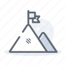 business, finance, flag, mountain, top icon