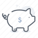 bank, coin, pig, piggy, piggy bank, savings icon