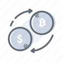 bitcoin, convert, dollar, exchange, finance icon