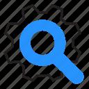 cogwheel, gear, loupe, search icon