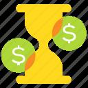 deadline, hourglass, money, time icon