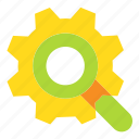 cogwheel, loupe, magnifier, search icon