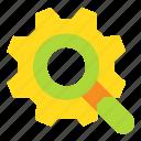 cogwheel, loupe, magnifier, search