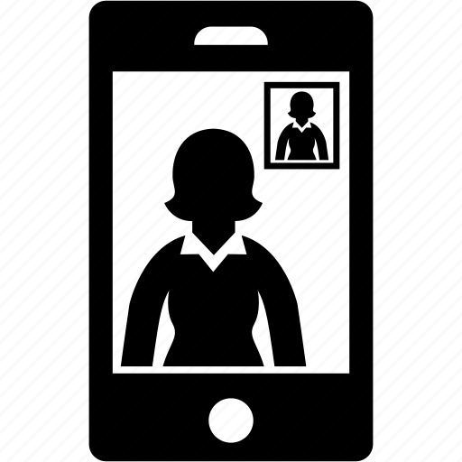 business, call, smartphone, video, woman icon