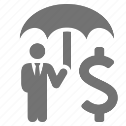 business, businessmen, dollar, insurance, money, protection, umbrella icon