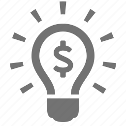 bulb, business, dollar, ideea, light, money, solution icon