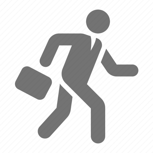briefcase, businessman, hurry, job, running, rushing icon