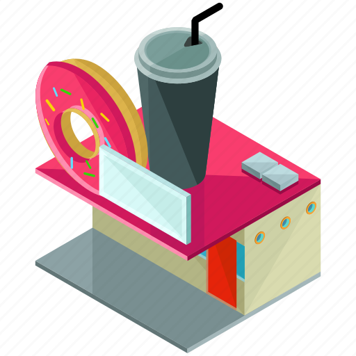 building, businesses, diner, donut, doughnut, restaurant icon