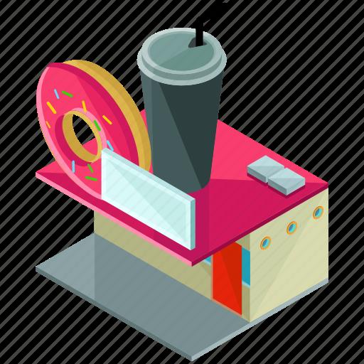 Building, businesses, diner, donut, doughnut, restaurant icon