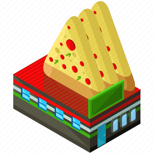 building, businesses, food, pizza, restaurant icon