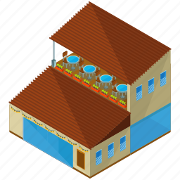 building, businesses, restaurant, table, terrace icon