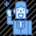 businessman, fist, man, smile, suit, up