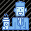 businessman, coffee, drink, man, suit