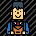 businessman, letter, man, office, smile