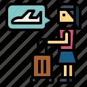 businesswoman, flight, luggage, plane, woman