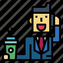 businessman, call, coffee, man, suit