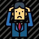 businessman, headaches, man, stress, suit