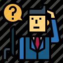 businessman, man, question, suit, thinking