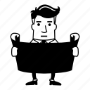 board, businessman, map, paper icon