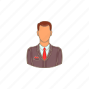 avatar, cartoon, head, man, person, sign, suit icon