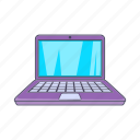 cartoon, computer, laptop, modern, notebook, screen, sign icon