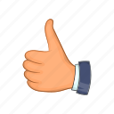 cartoon, good, hand, ok, sign, thumb, up icon
