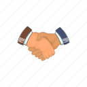 cartoon, contract, deal, hand, handshake, partnership, sign icon