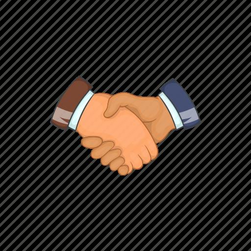 cartoon, contract, deal, hand, handshake, partnership, sign icon