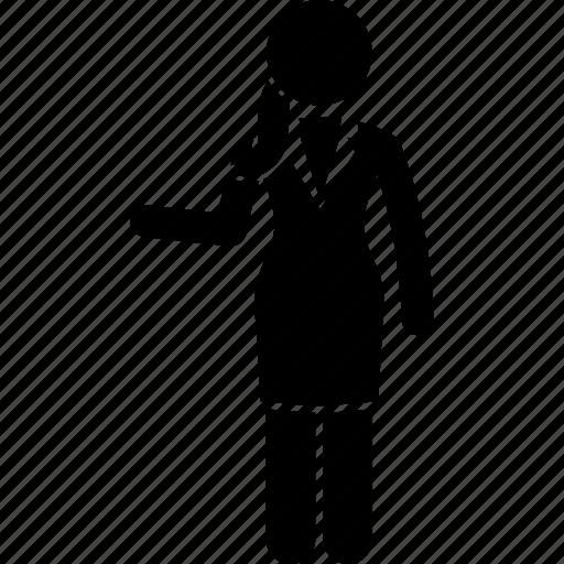 business, businesswoman, explain, secretary, showing, woman, worker icon