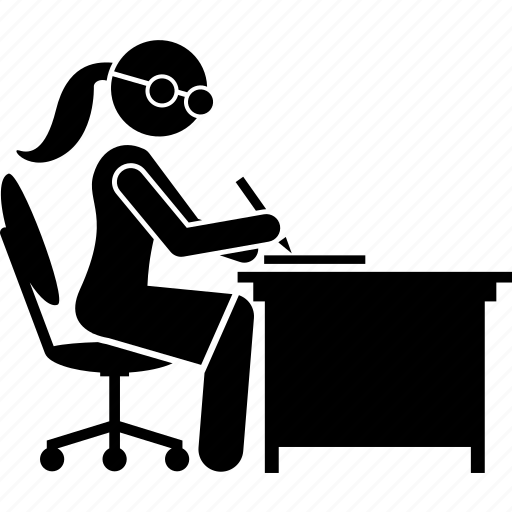 female, office, paperwork, woman, worker, write, writing icon