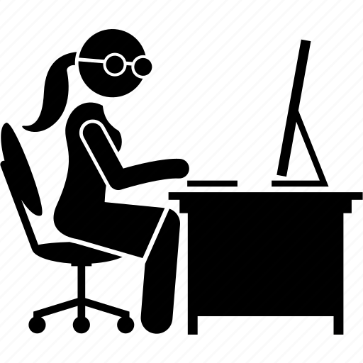 computer, female, office, secretary, typing, woman, worker icon