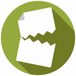 business, document, draft, office, paper, rejection, torn icon