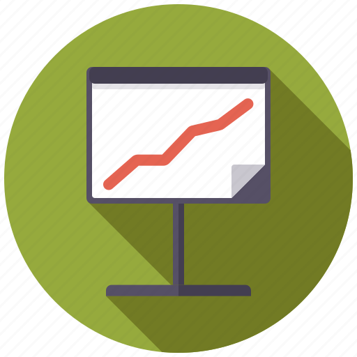 business, flipchart, graph, increase, office, presentation, success icon