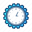 bussiness, clock, gear, media, time, work icon