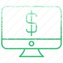 computer, device, dollar, laptop, money, monitor, pc icon
