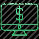 computer, device, dollar, laptop, money, monitor, pc