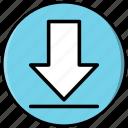arrow, button, down, download