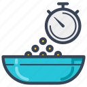 bowl, breakfast, cereal, delivery, food, timer icon