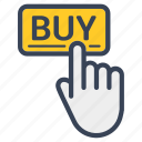 buy, click, delivery, finger, food, hand, online icon