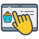 business, buy, cupcake, food, online, sell, tablet icon