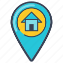 delivery, direction, house, location, online, pin icon