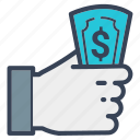 business, cash, delivery, dollar, hand, online, pay icon
