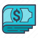 business, cash, dollar, shopping, stack icon