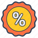 approved, discount, percent, sticker icon