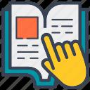 book, browse, education, hand, read, recipie, school icon