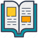 book, education, layout, school, text icon
