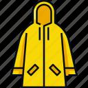 clothes, coat, jacket, protection, rain, raincoat, weather icon