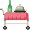 food trolley, hotel, hotel service, hotel trolley, room, room service, service icon